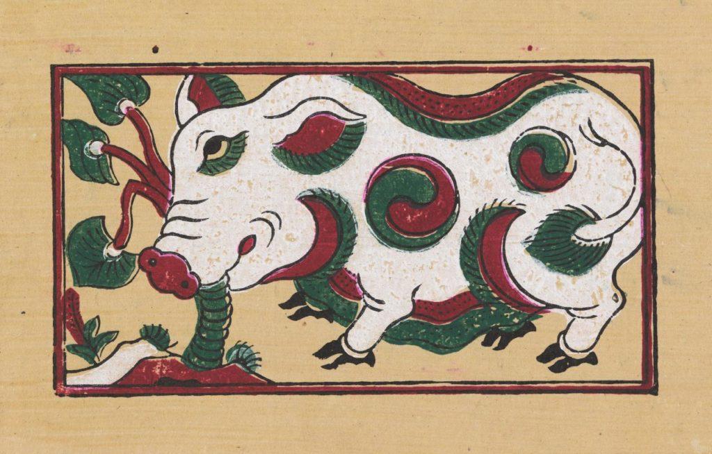 """""""Il maiale che mangia la foglia di taro"""", della tradizione Đông Hồ"""