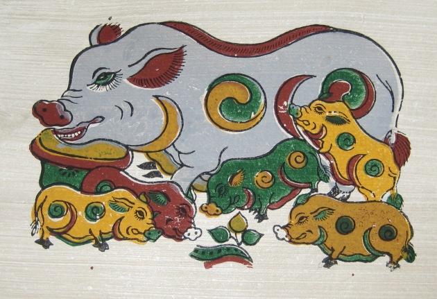 Il maiale raffigurato nel dipinto Lợn âm dương della tradizione Đông Hồ