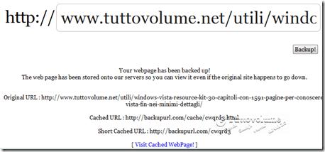 Backup web page