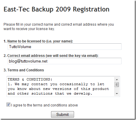 registrazione east tec backup 2009