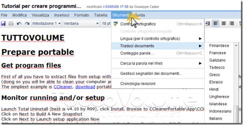 google documenti traduzione