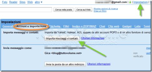 importazione contatti e messaggi in gmail