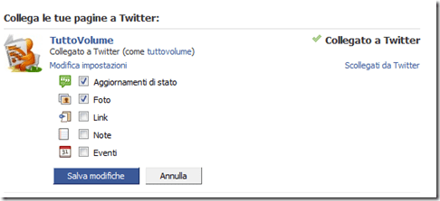 pagine facebook collegate con twitter