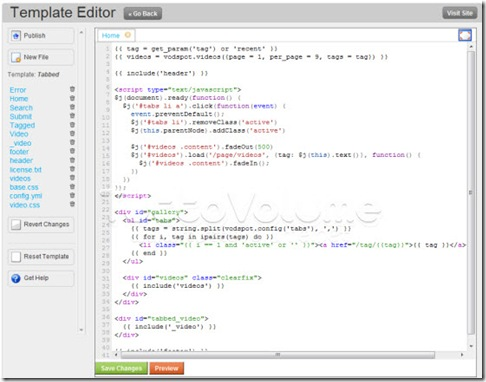 VodSpot-template editor