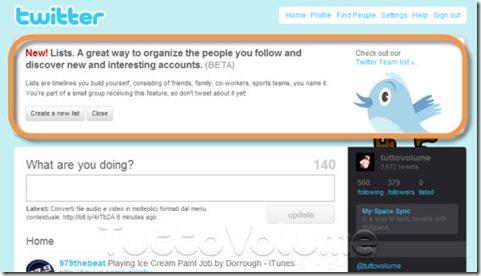 Twitter Liste Contatti