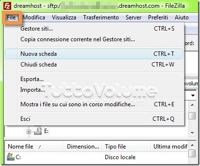 Nuova scheda Filezilla