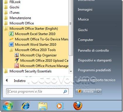 Office 2010 Starter Applicazioni Integrate