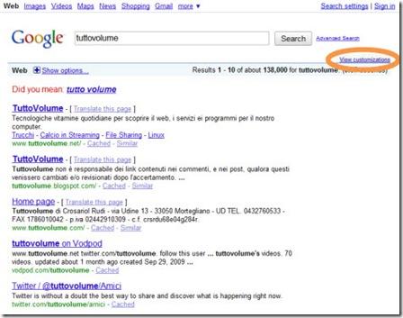 Google ricerca personalizzata