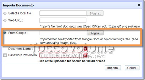 Importa documenti Google in Zoho