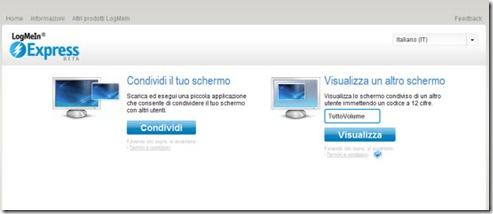 LogMeIn Express Interfaccia web