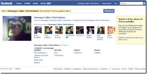 Profilo pubblico Facebook