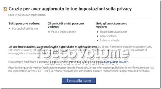 Riassunto impostazioni privacy Facebook