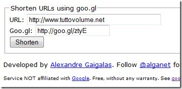 Shorten URL using goo.gl
