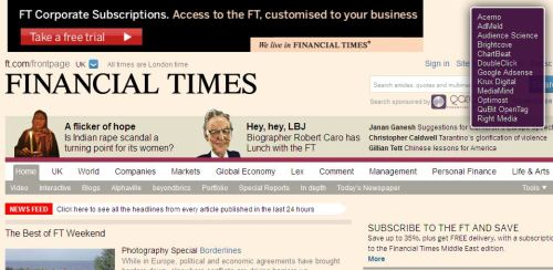 Financial Times  - FT tracker websites