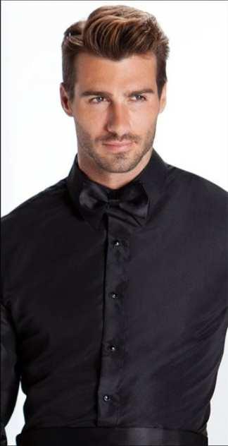 Black Tuxedo Shirt Plane front