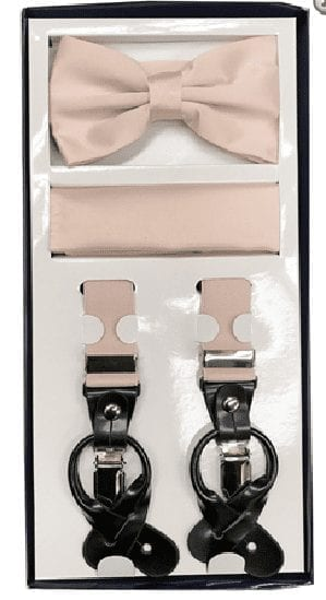 Light Pink Mens Bowtie Set Youth Bow Tie and Suspenders for Men Clip Suspenders