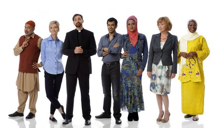 Cast of Little Mosque Mondays 830 pm on CBC TV HiRes