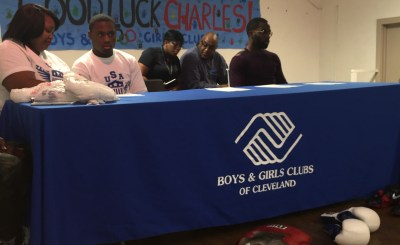 Annette Steen-Conwell, Charles Conwell and Terrell Gausha at the Boys & Girls Club for Charles Conwell's Olympic boxing press conference and sendoff.