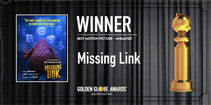 Missing Link won Golden Globe Awards for Best Motion Picture - Animated