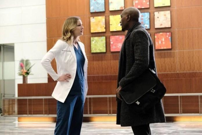 Emily Van Camp and Morris Chestnut in season 3 episode 15 (Photo by Guy D Alema © 2020 Fox Media LLC)