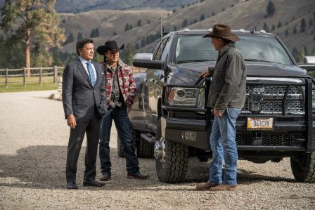 (L-R) Gil Birmingham as Thomas Rainwater, Moses Brings Plenty as Mo, and Kevin Costner as John Dutton. Episode 5 of Yellowstone Cowboys and Dreamers