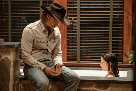 "(L-R) Luke Grimes as Kayce Dutton and Kelsey Asbille as Monica Dutton. season 3 Episode 6 of Yellowstone - ""All for Nothing"""