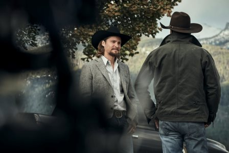 (L-R) Luke Grimes as Kayce Dutton and Kevin Costner as John Dutton. Episode 5 of Yellowstone - Cowboys and Dreamers