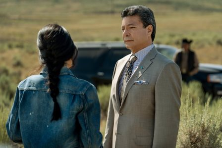"Yellowstone season 3 Episode 6 - ""All for Nothing"" (L-R) Kelsey Asbille as Monica Dutton and Gil Birmingham as Thomas Rainwater."