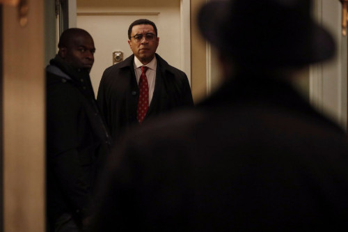 "THE BLACKLIST -- ""The Fribourg Confidence (#140)"" Episode 805 -- (Pictured: (l-r) Hisham Tawfiq as Dembe Zuma, Harry Lennix as Harold Cooper, James Spader as Raymond ""Red"" Reddington -- (Photo by: Will Hart/NBC)"