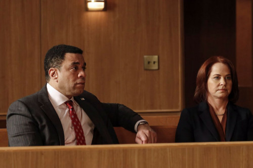 "THE BLACKLIST -- ""The Fribourg Confidence (#140)"" Episode 805 -- (Pictured: (l-r) Harry Lennix as Harold Cooper, Deirdre Lovejoy as Cynthia Panabaker -- (Photo by: Will Hart/NBC)"