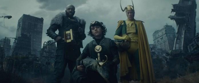 Loki season 5 (L-R): Boastful Loki (DeObia Oparei), Kid Loki (Jack Veal), Alligator Loki and Classic Loki (Richard E. Grant) in Marvel Studios' LOKI, exclusively on Disney+. Photo courtesy of Marvel Studios. ©Marvel Studios 2021. All Rights Reserved.