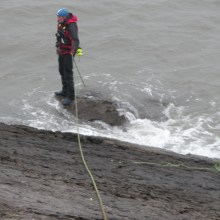 Safety rope near water