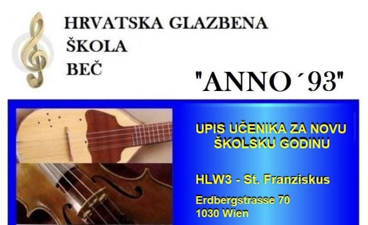 Hrvatska glazbena škola Beč vrši upis učenika