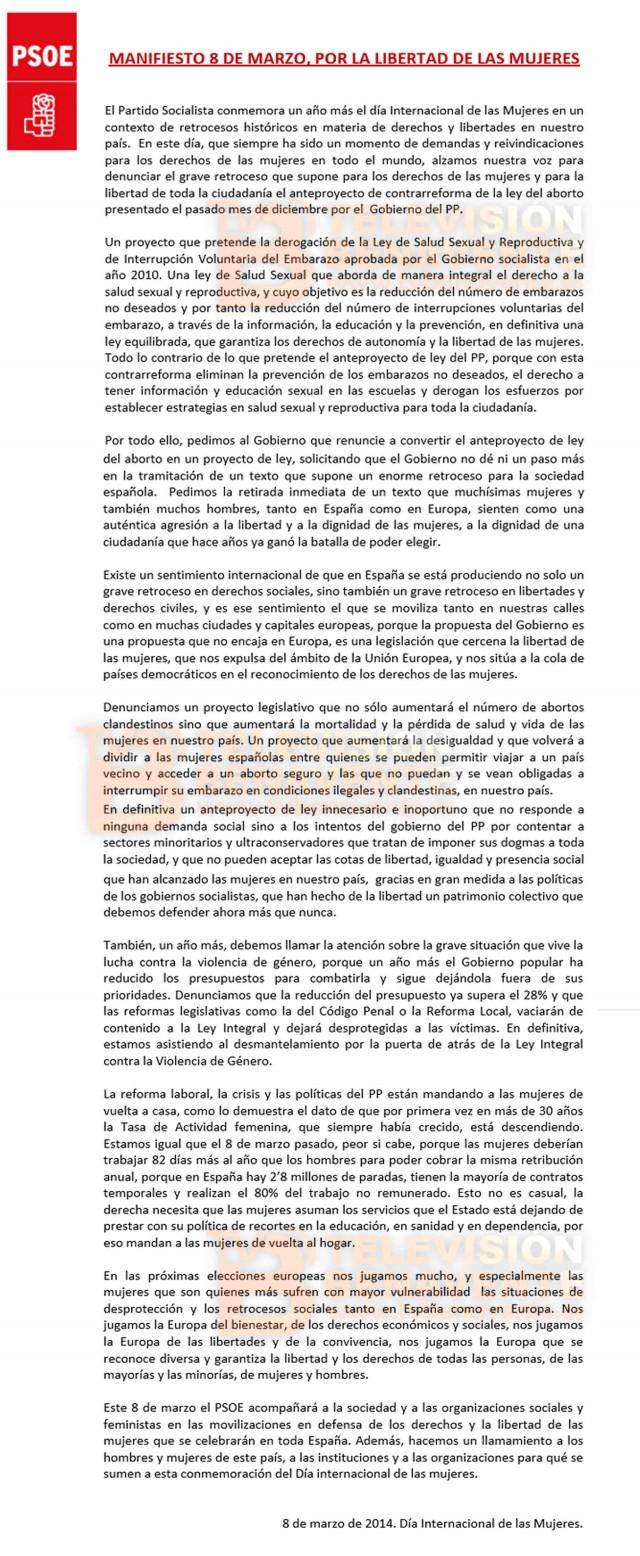 manifiesto psoe mujer 2014