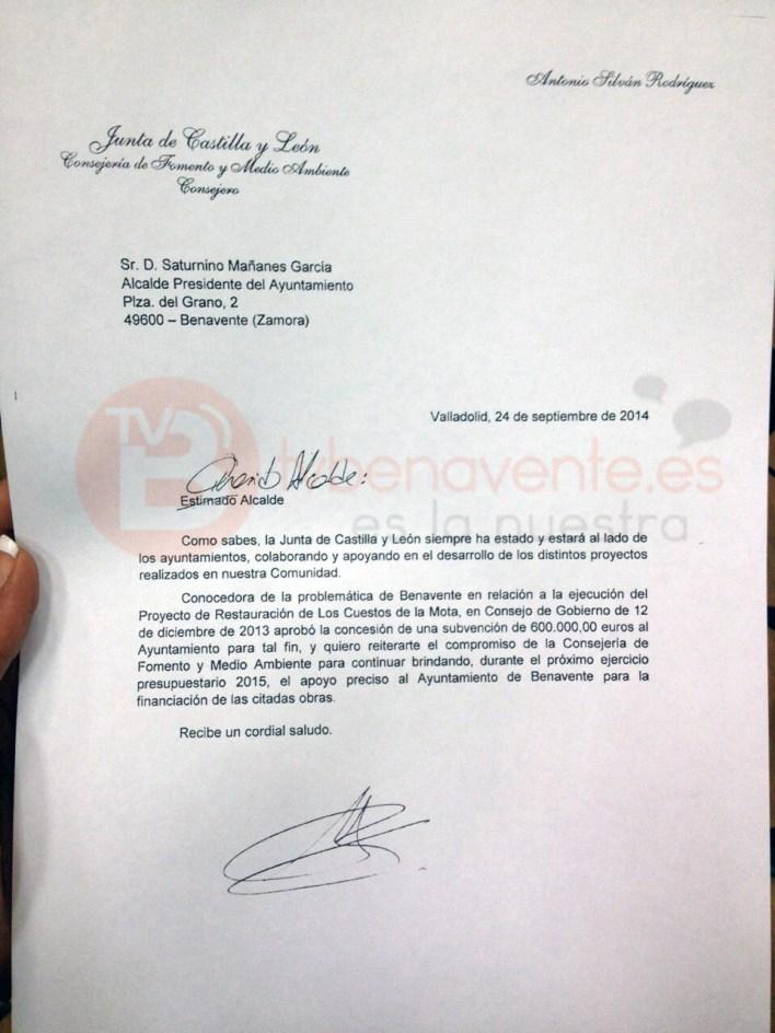CARTA CUESTOS DE LA MOTA BENAVENTE JUNTA DE CASTILLA Y LEON