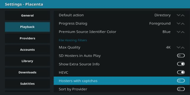 Change addon playback settings