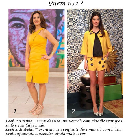 Tv Catia Fonseca moda cores vibrantes - amarelo