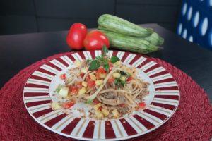 Espaguete de pupunha com shimeji da chef Mariana Pelozio