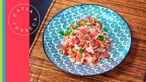 Saboreie o arroz com carne seca e calabresa espetacular da Catia!