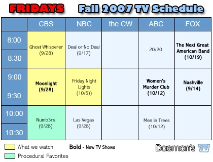 Daemon's TV Fridays TV Schedule Fall 2007