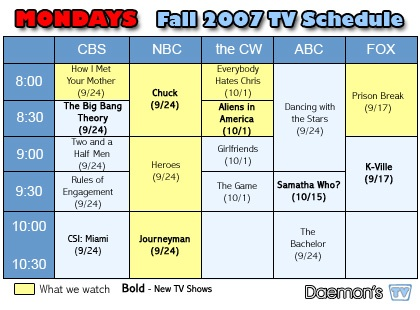 Daemon's TV Mondays TV Schedule Fall 2007