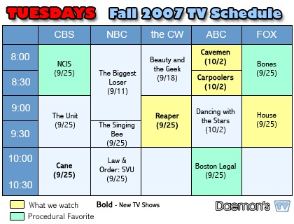 Daemon's TV Tuesdays TV Schedule Fall 2007