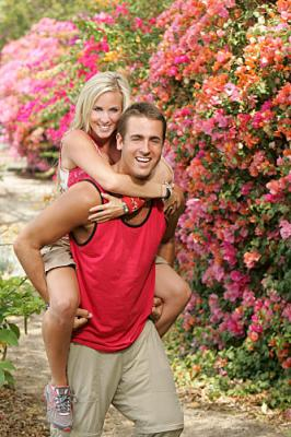 THE AMAZING RACE 12 on CBS - Teammates Jennifer Parker (back) and Nathan Hagstrom (front).
