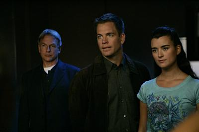NCIS - Mark Harmon as Special Agent Leroy Jethro Gibbs, Michael Weatherly as Special Agent Anthony DiNozzo, and Cote de Pablo as Ziva David