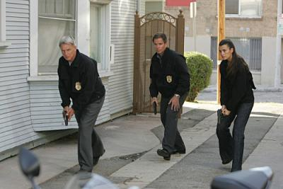 "NCIS - Mark Harmon as Special Agent Leroy Jethro Gibbs, Michael Weatherly as Special Agent Anthony DiNozzo, and Cote de Pablo as Ziva David in ""Designated Target"""
