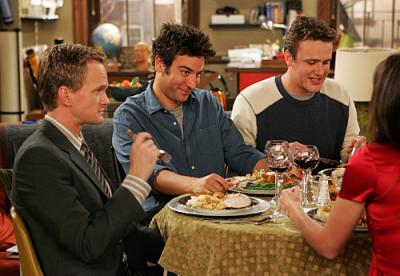 """HOW I MET YOUR MOTHER - Barney (Neil Patrick Harris), Ted (Josh Radnor), Marshall (Jason Segel) and Robin (Cobie Smulders) in """"Slapsgiving"""""""