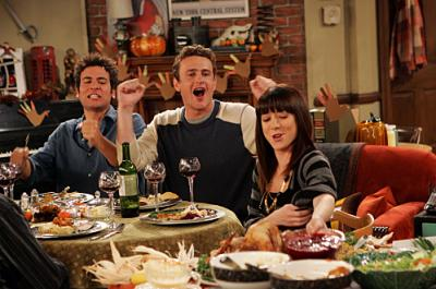 """HOW I MET YOUR MOTHER - Ted (Josh Radnor) Marshall (Jason Segel) and Lily (Alyson Hannigan) in """"Slapsgiving"""""""