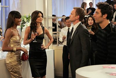 """HOW I MET YOUR MOTHER - Neil Patrick Harris as Barney, Josh Radnor as Ted, Miranda Kerr, and Selita Ebanks in """"The Yipes"""""""