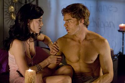 "DEXTER - Jaime Murray as Lila and Michael C. Hall as Dexter in ""Morning Comes"""