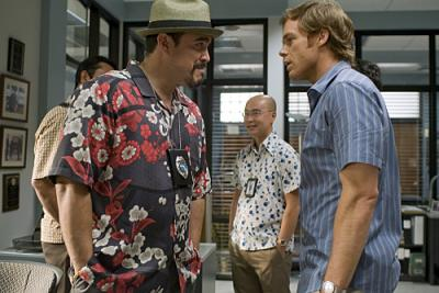 """DEXTER - David Zayas as Angel, C.S. Lee as Vince Masuka, and Michael C. Hall as Dexter in """"Resistance Is Futile"""""""